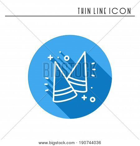 Party cone hats icon. Party celebration birthday holidays event carnival festive. Thin line party basic element icon. Vector simple linear design. Illustration. Symbols. Congratulation