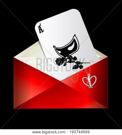 dark background, the red envelope with abstract games card of black half-mask and rose, jewel pendant crown inside