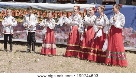 RazdorskayaRostov Region Russia- June 04; 2017:Performance of the children's Cossack choir at the Trinity festival