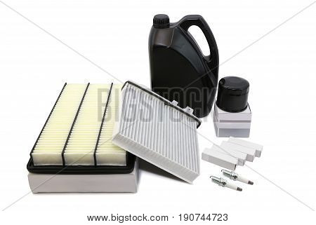 Air oil filter car candles on white background isolation