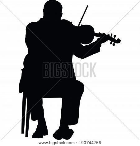 violinists sit on a chair silhouette vector