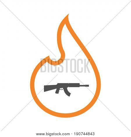 Line Art Flame With  A Machine Gun Sign