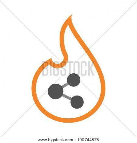 Line Art Flame With  A Network Sign
