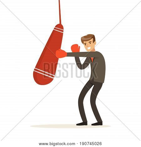Smiling businessman in boxing gloves hitting a punching bag vector Illustration isolated on a white background