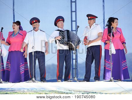 RazdorskayaRostov Region Russia- June 04; 2017:Performance of the Cossack choir at the Trinity festival