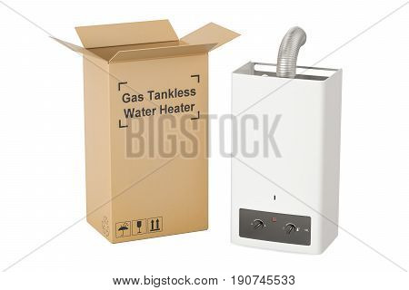 Gas tankless water heater with cardboard box delivery concept. 3D rendering
