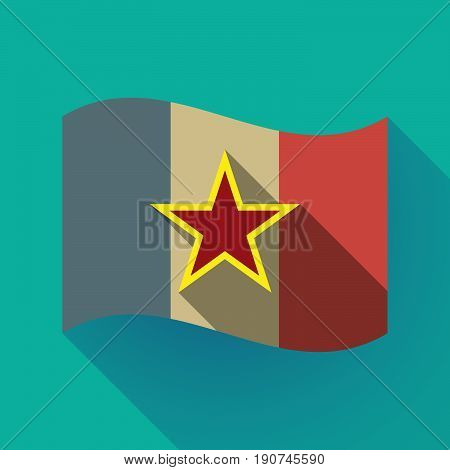 Long Shadow France Flag With  The Red Star Of Communism Icon