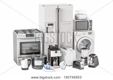 Set of kitchen home appliances. Toaster washing machine fridge iron gas stove kettle mixer blender yogurt maker multicooker microwave oven grinder bread machine and coffee machine 3D rendering