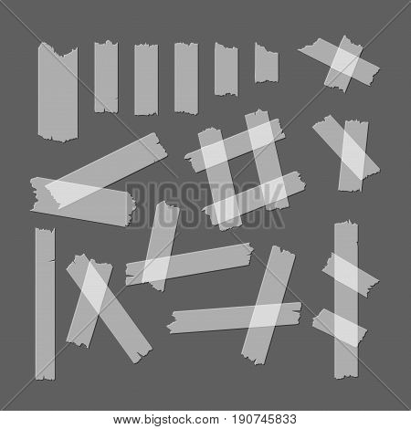 Adhesive Tape Pieces Set Different Size and Shapes on a Gray Background Ready Design Element Web. Vector illustration