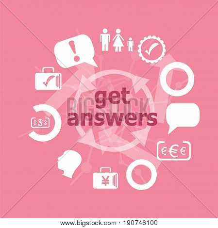Text Get Answers. Education Concept . Set Of Flat Icons For Mobile App And Web