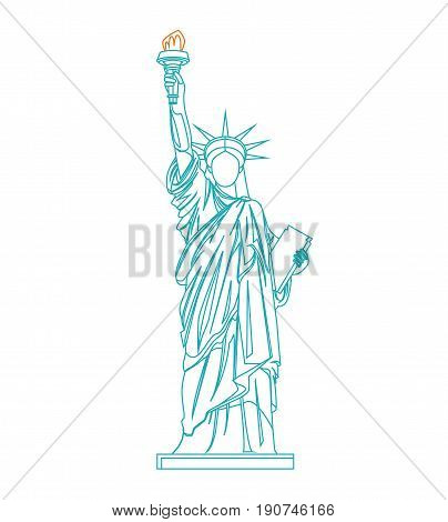 Statue of Liberty Thin Line Design Style Landmark Tourism Symbol Freedom Web Element. Vector illustration