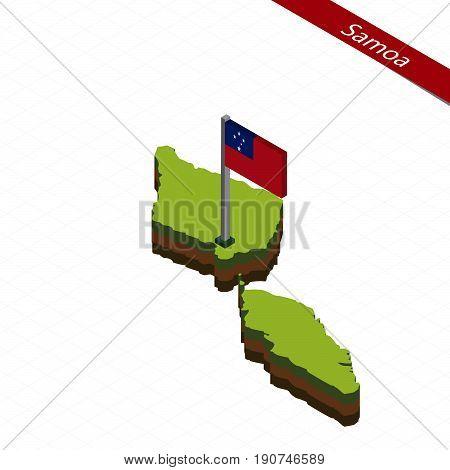 Samoa Isometric Map And Flag. Vector Illustration.