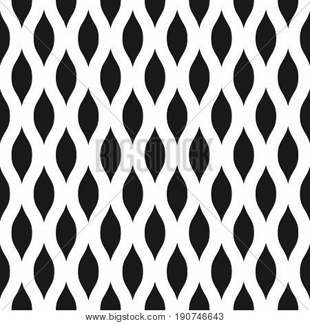 Wavy seamless pattern background in black and white. Vintage and retro abstract ornamental design of spiky ovals or lens shape. Simple flat vector illustration.