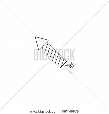 fireworks rocket line icon, flying firecrackers, vector graphics, a linear pattern on a white background, eps 10.