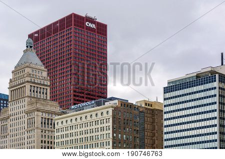 Chicago. IL USA october 27 2016: The CNA Center in downtown Chicago Illinois. The building was completed in the year 1972