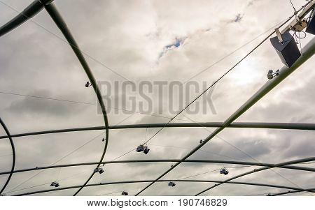 Chicago IL USA october 27 2016: Detail of the Jay Pritzker Pavilion at Millennium Park Chicago Illinois USA. The Pavilion hosts many concerts and has capacity for 11000 people