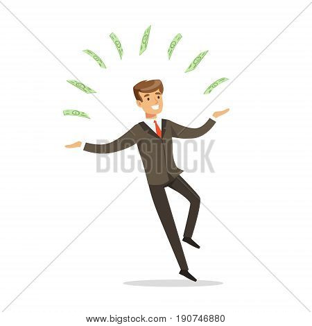 Successful businessman standing and juggling with money bills vector Illustration isolated on a white background