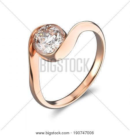 3D illustration rose gold ring bypass with diamond on a white background