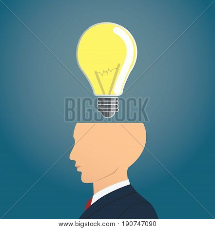 Businessman thinking with light bulb icon. concept of thinking