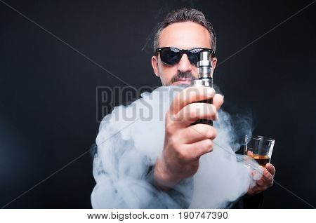 Stylish Man With A Glass Of Whiskey