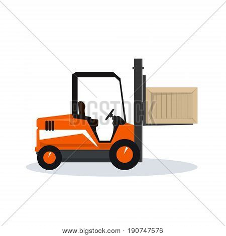 Orange Forklift Truck Isolated on White Background, Vehicle Forklift Picks up a Box, Vector Illustration
