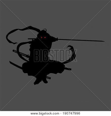 ninja silhouette assassin black tattoo illustration vector