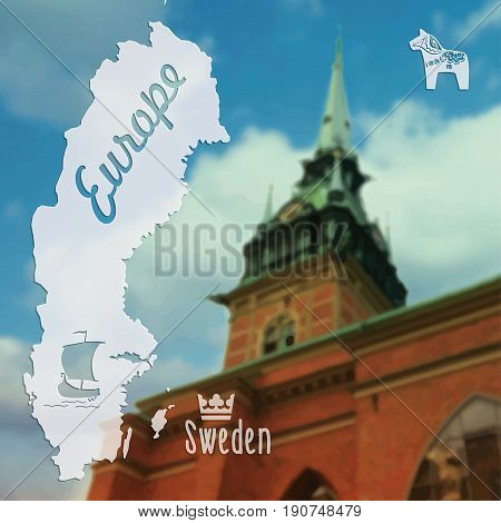 Beautiful summer vector postcard Stockholm capital city of Sweden