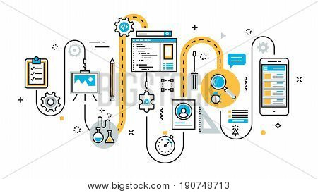 Flat line illustration concept of graph plan scheme algorithm step of mobile application development process app design programming coding building and debugging for website banner