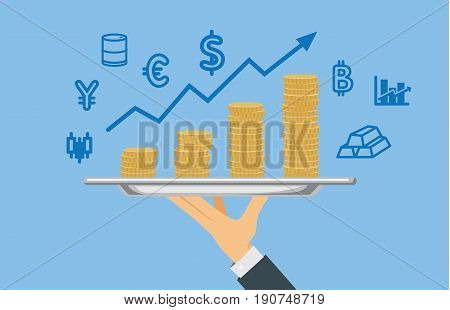 Hand holding pile of coin with stock trading icon. Illustration about take profit from investment.