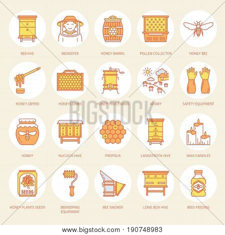 Beekeeping, apiculture line icons. Beekeeper equipment, honey processing, honeybee, beehives types, natural products. Bee-garden thin linear signs for organic farm shop. Orange color.