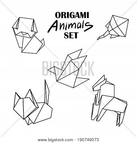 Origami animals set. Animals from paper snake, dog, horse, cat, bird fox isolated