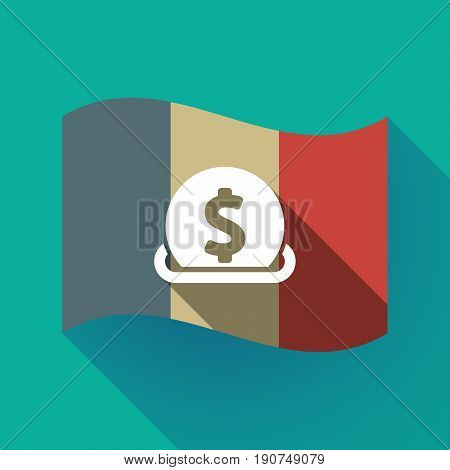 Long Shadow France Flag With  A Dollar Coin Entering In A Moneybox