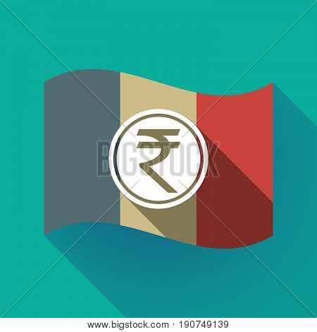 Long Shadow France Flag With  A Rupee Coin Icon