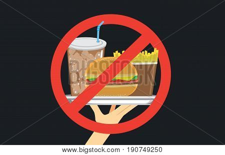 Hand holding fast food in silver dish with stop signal. Illustration about eating with wrong.