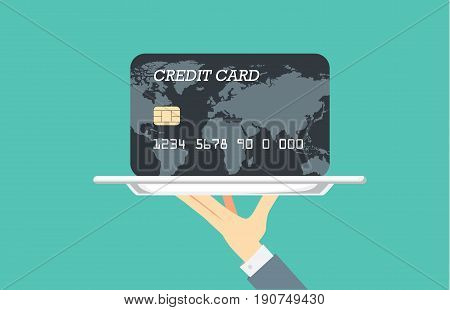 Hand holding silver tray which have black credit card paste in it. Illustration about financial with catering concept.