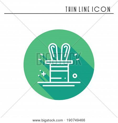 Magic trick icon. Rabbit in magician black hat cylinder. Circus magic party birthday event carnival festive holidays. Thin line party element icon. Vector simple linear design. Illustration. Symbols