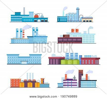 Industrial landscape set. Factory buildings: industrial, chemical, helium plants, oil, administrative building and hospital. Modern vector illustration isolated on white background.