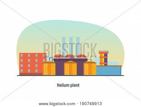Helium multi-storey plant, storage and transportation inside the enterprise, resources, appearance of buildings. Industrial landscape. Modern vector illustration isolated