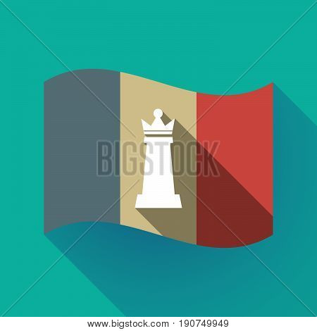 Long Shadow France Flag With A  Queen   Chess Figure