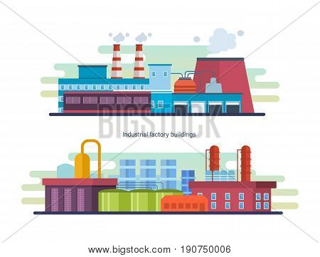 Buildings of an industrial and petroleum plants, stations and reactors, power lines and resource work, laboratory. Industrial factory building. Modern vector illustration isolated