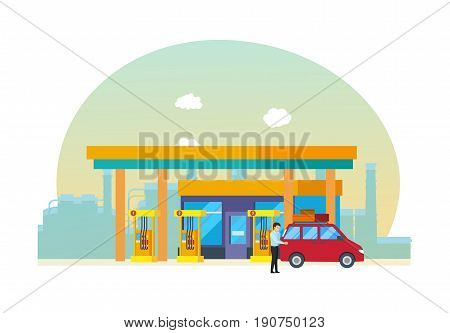 Objects of oil industry. Gas station for cars, appearance and technical equipment, against the backdrop of city streets. Modern vector illustration isolated on white background.