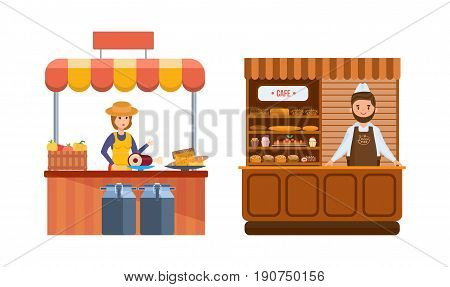 Sellers behind counter. Elite bread, natural food. Sellers in apron, headdress standing at food counter, sells farm products and bakery on farmer's market. Illustration isolated in cartoon style.