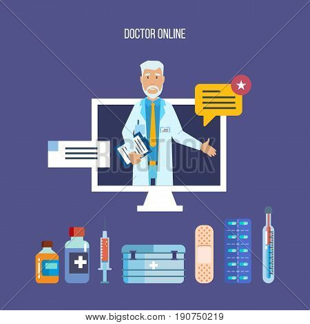 Doctor concept online. Consultation, consideration of complaints and requests of patients online, methodology of research and treatment, appointment. Vector illustration isolated.