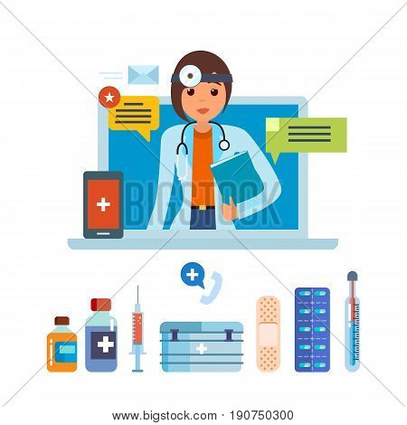 Doctor concept and first aid online. Consultation, consideration of complaints and requests of patients online, methodology of research and treatment, appointment. Vector illustration isolated