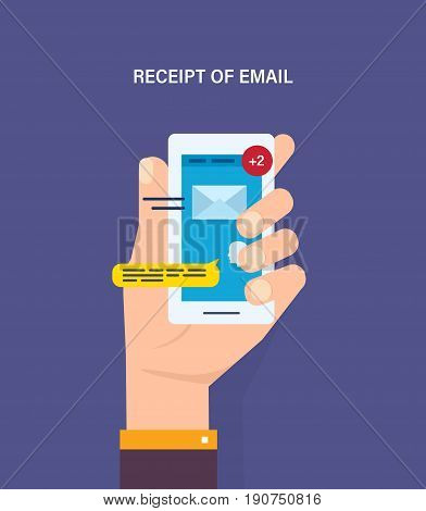 Receipt of email. Reading e-mails, electronic informational messages, unread incoming messages, modern technologies and communications. Vector illustration isolated in cartoon style.