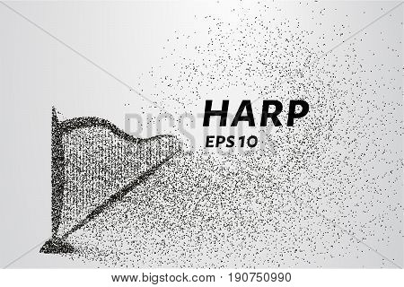 Harp Of The Particles. Harp Consists Of Circles And Points. Vector Illustration.