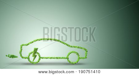 Electric car concept in green environment concept - 3d rendering