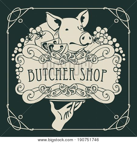 Vector banner for the butcher shop with a picture of a hand with a tray on which is a still life with piglet vegetables and cheese in a Baroque style with a curly frame.