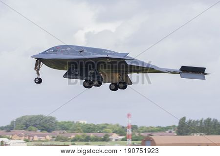 RAF FAIRFORD UNITED KINGDOM - JUNE 9: An American Air Force B2 Stealth Bomber arrives as part of exercises on June 9th 2017 in Fairford Gloucestershire UK