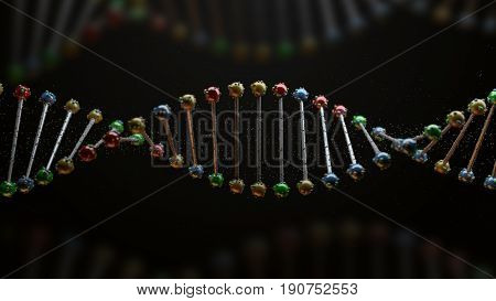 3D Render Of Dna Form. Genetic Concept.